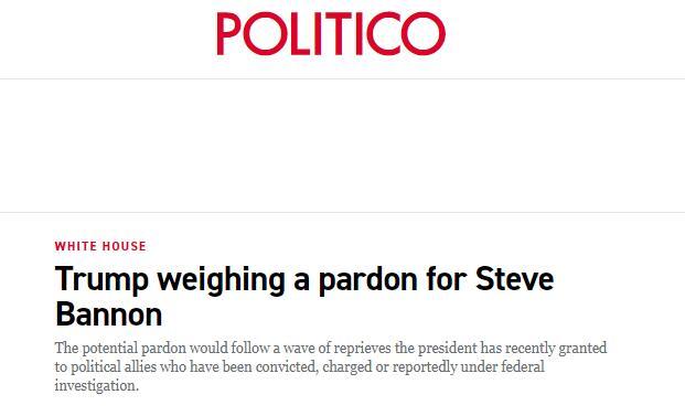 (政客:特朗普正在考虑赦免班农)