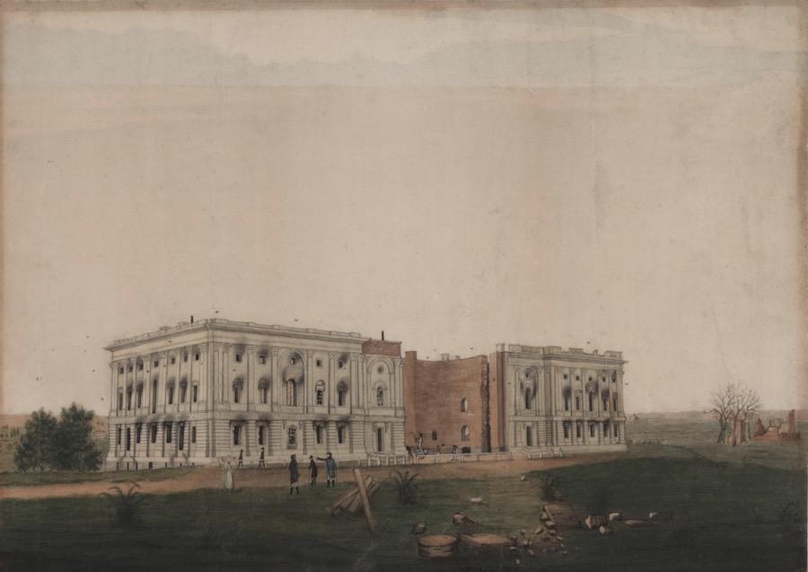 被英军严重破坏后的美国国会大厦