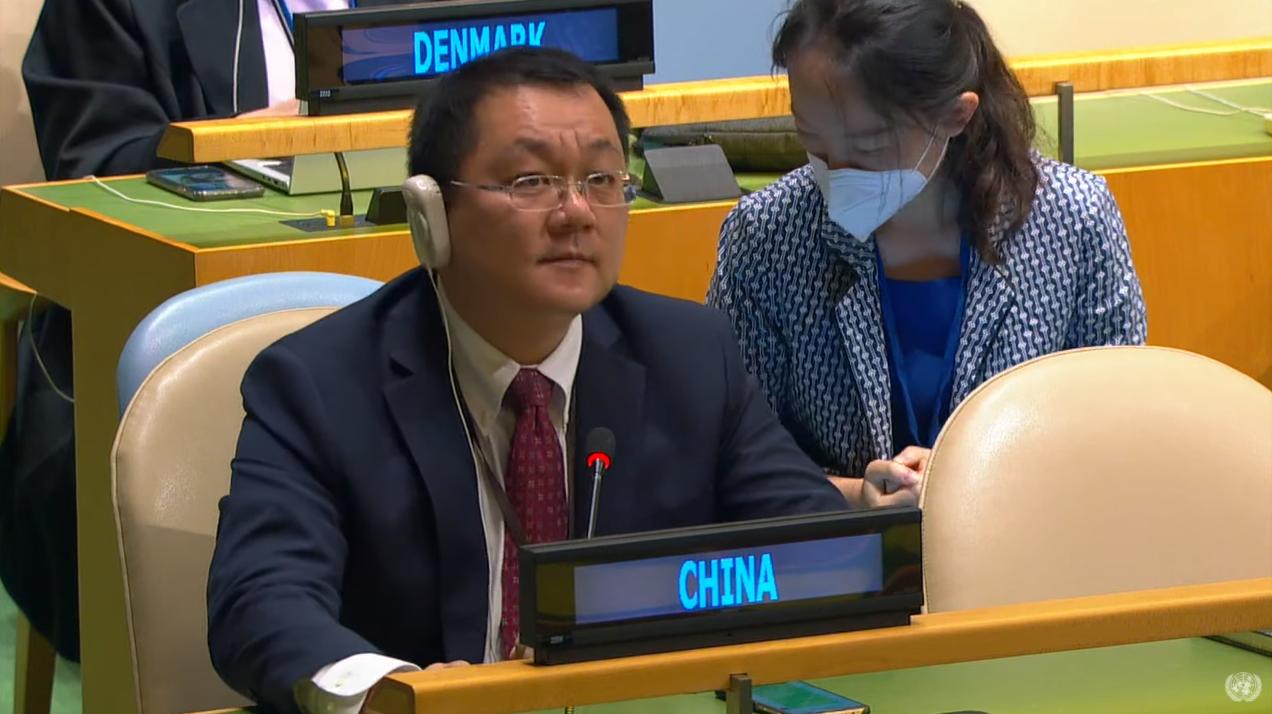 中方代表行使答辩权回应加外长发言 视频截图