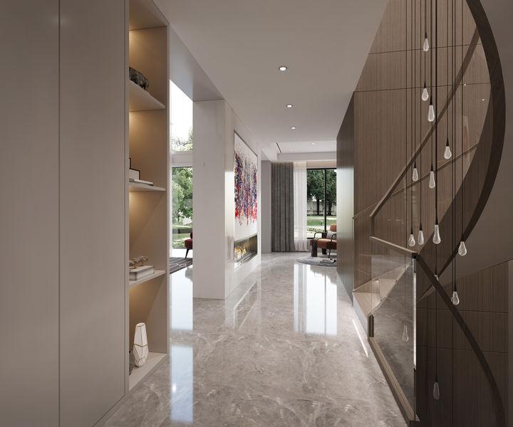 带旋转楼梯的480平现代风别墅