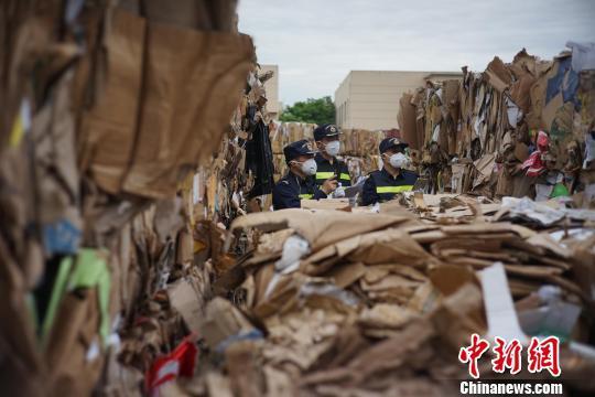 资料图:上海外高桥港区海关退运废纸板。 赵方逍 摄
