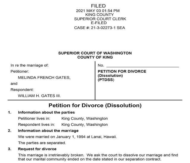 ↑梅琳达·盖茨提出的离婚申请 图据《每日邮报》
