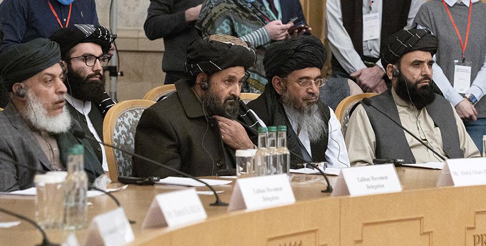 当地时间2021年3月18日,阿富汗问题多方会谈在俄罗斯莫斯科召开。塔利班政治事务领导人巴拉达尔参加会议。