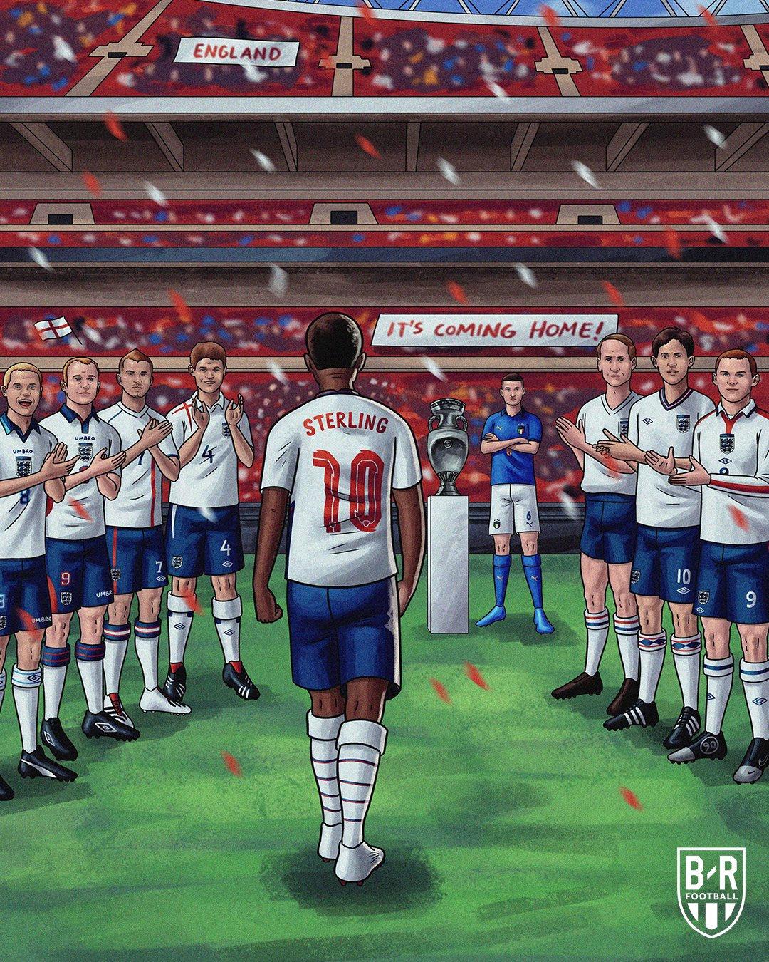 媒体漫画,英格兰队前辈列队致敬斯特林。