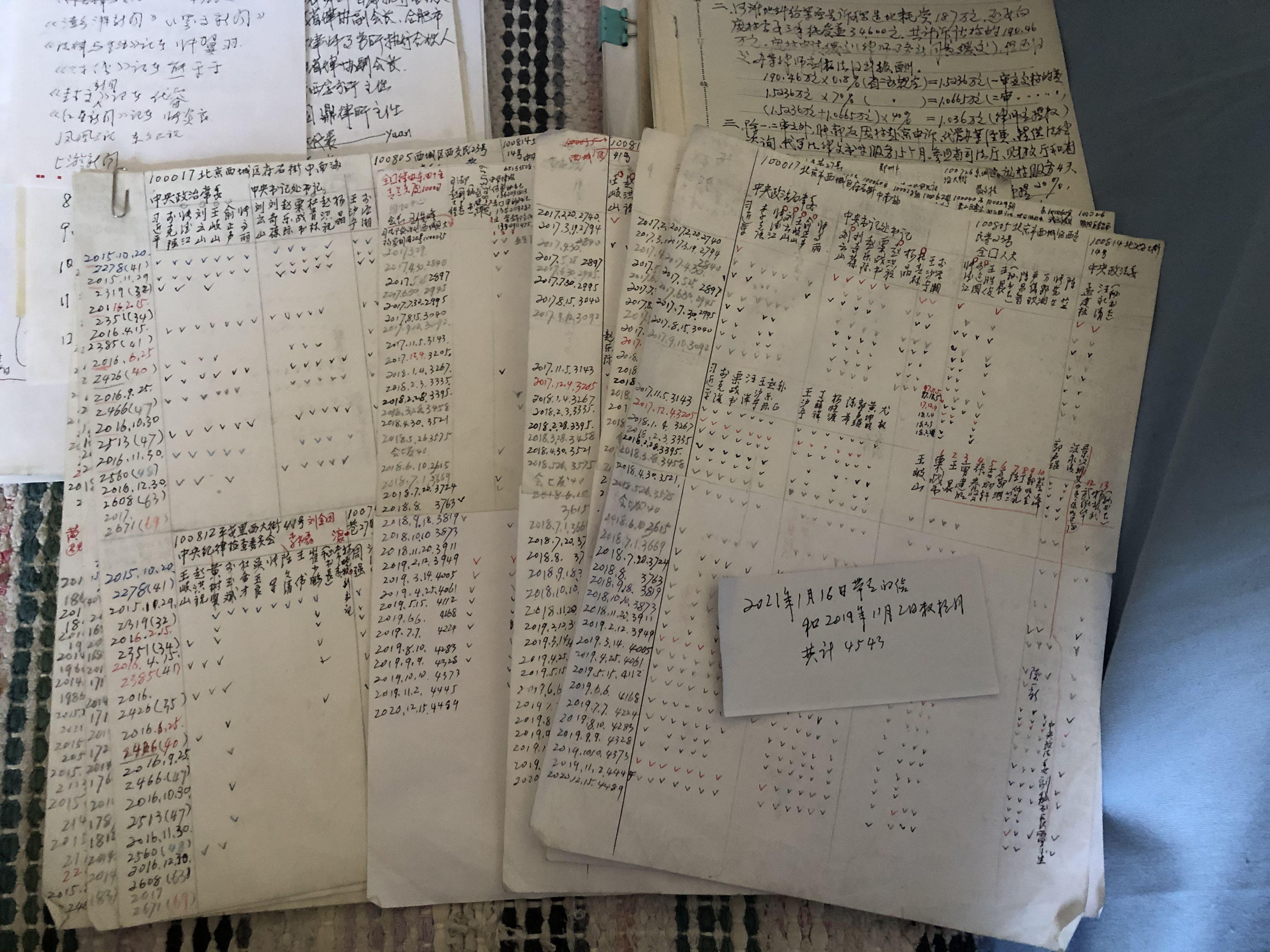 这些年,张军寄出了4000多封申诉信。王翀鹏程摄