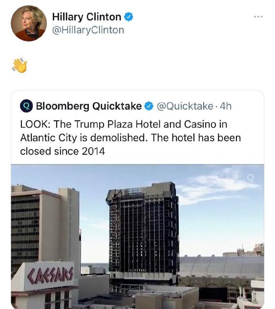 特朗普赌场被爆破拆除,希拉里转发视频还配表情