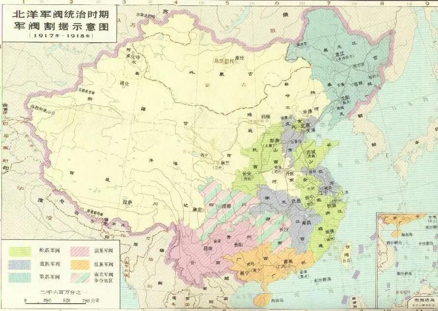 上图_ 北洋军阀统治时期军阀割据图(1917-1918)