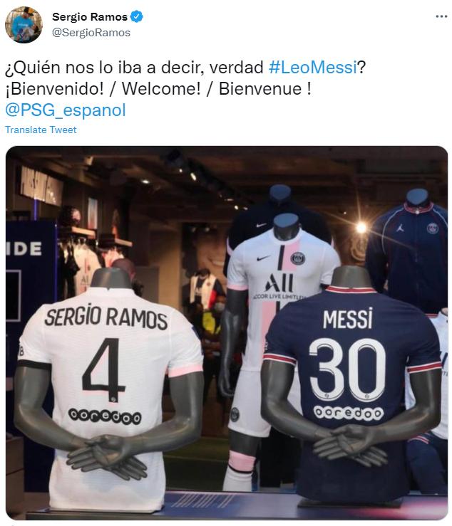 拉莫斯曬自己與梅西的球衣:誰能想到呢?歡迎你