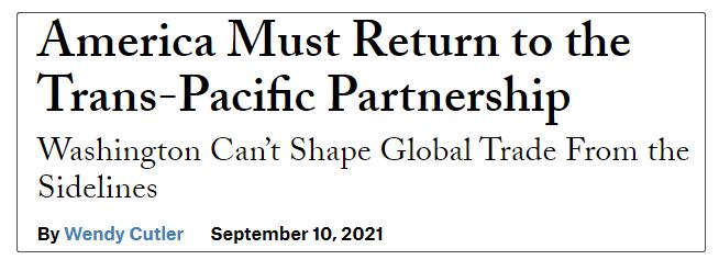 美国必须重返TPP。来源:今日外交