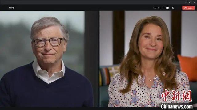 ↑疫情期间,比尔·盖茨和梅琳达·盖茨在电话会议上。盖茨基金会供图