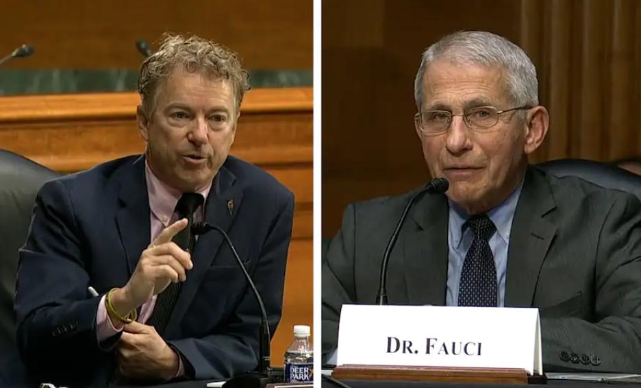 兰德·保罗(左)在国会听证会上向福奇发起质询 视频截图