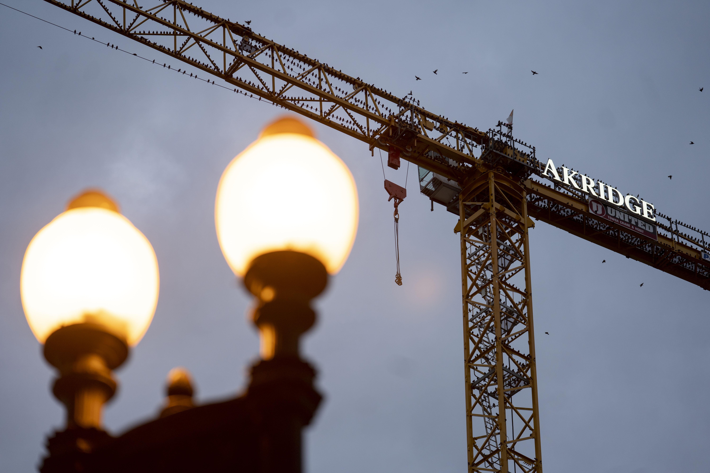 2020年10月31日,在美国华盛顿,鸟儿落在白宫附近一座停止施工的吊车上。新华社记者刘杰摄