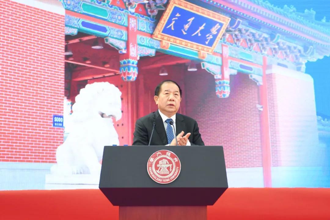 上海交通大学校长林忠钦在研究生开学典礼上致辞。 图片来自上海交大微信公号