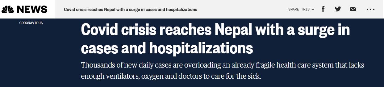 万博体育::尼泊尔新冠确诊病例激增,外媒:40万劳工将从印度返回