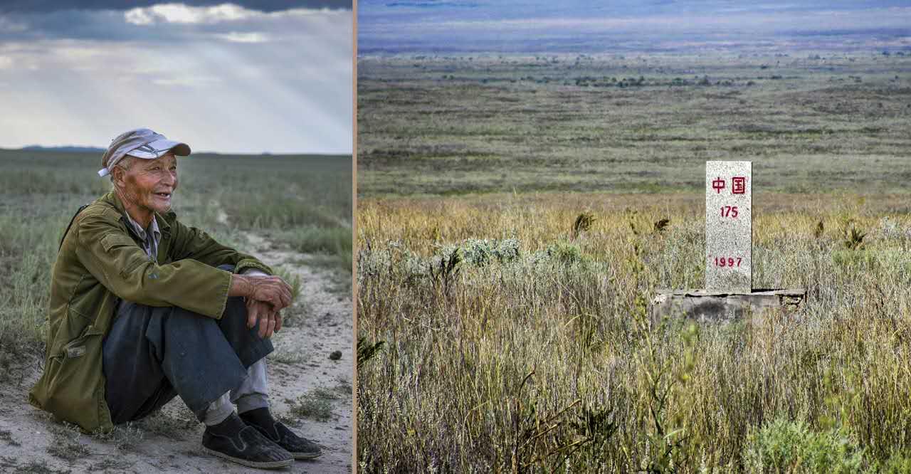 拼版照片:左图为魏德友在巡边间隙休息;右图为边境界碑(资料照片)。新华社发