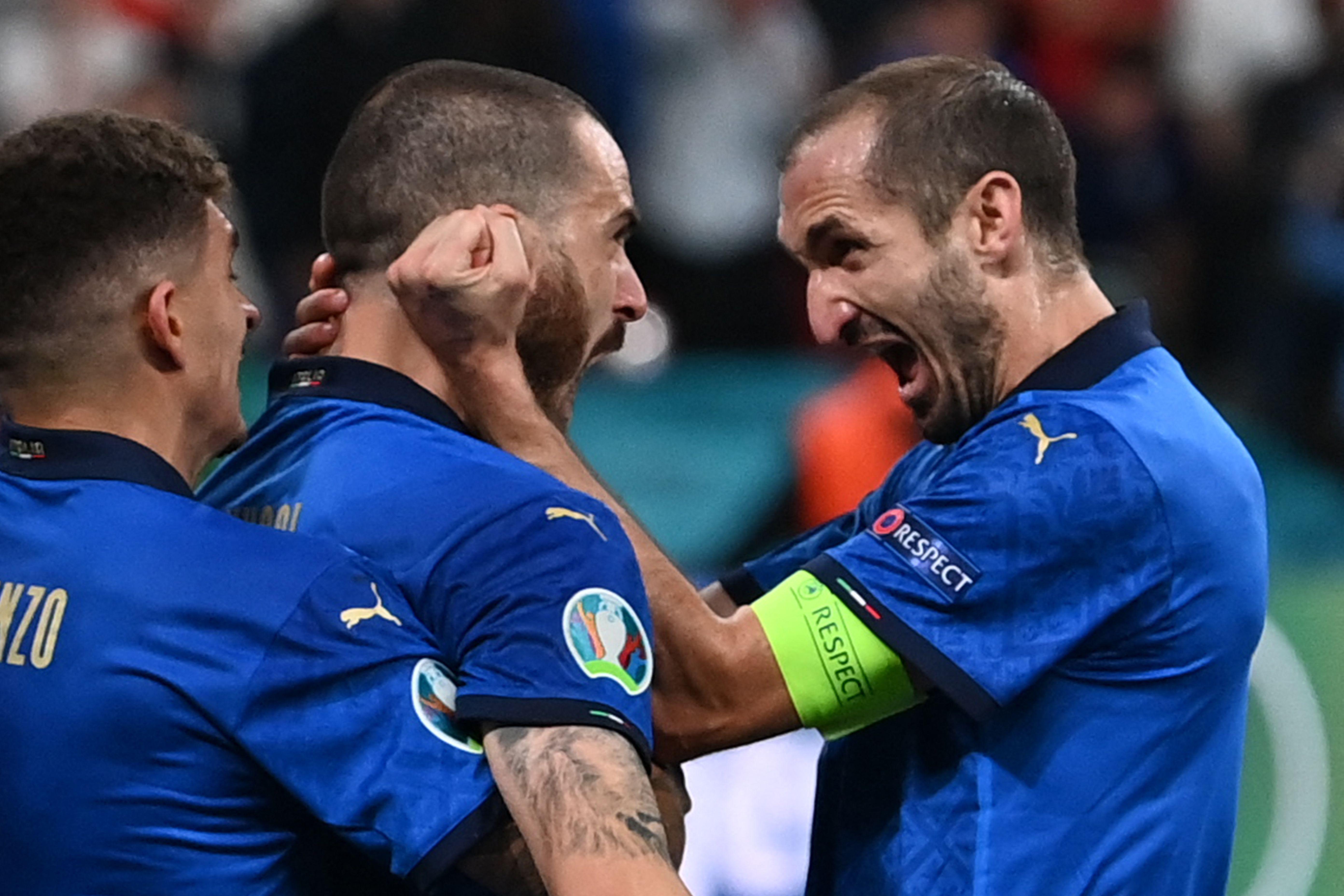 基耶利尼和博努奇庆祝进球。