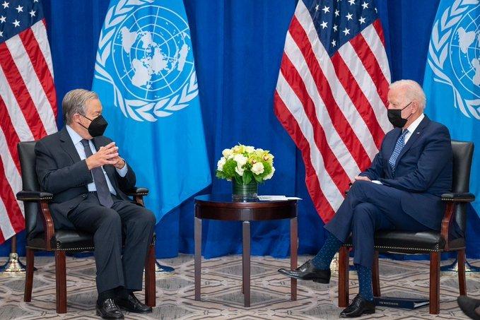 当地时间9月20日,拜登和联合国秘书长古特雷斯会面 图源:拜登推特