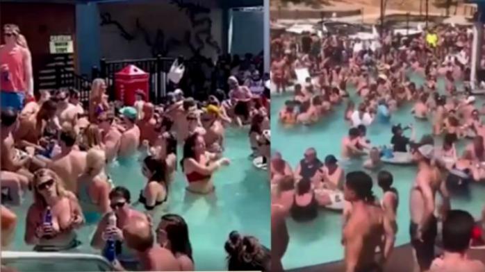 密密麻麻!美国人不顾风险疯狂开泳池派对 一眼望去全是人
