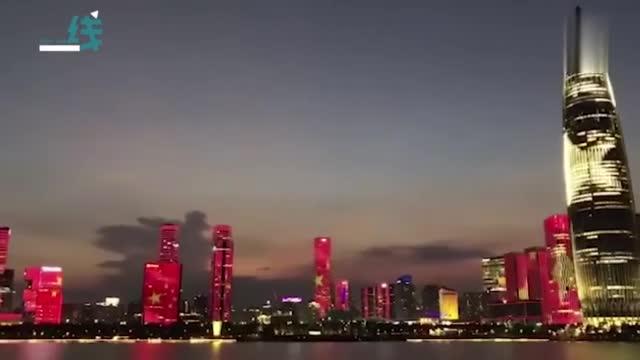 燃!深圳湾面朝香港方向亮起巨幕五星红旗