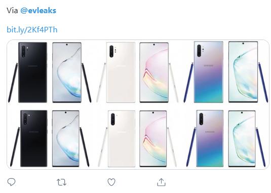 三星Galaxy_Note_10首发三配色曝光,你pick哪一款?