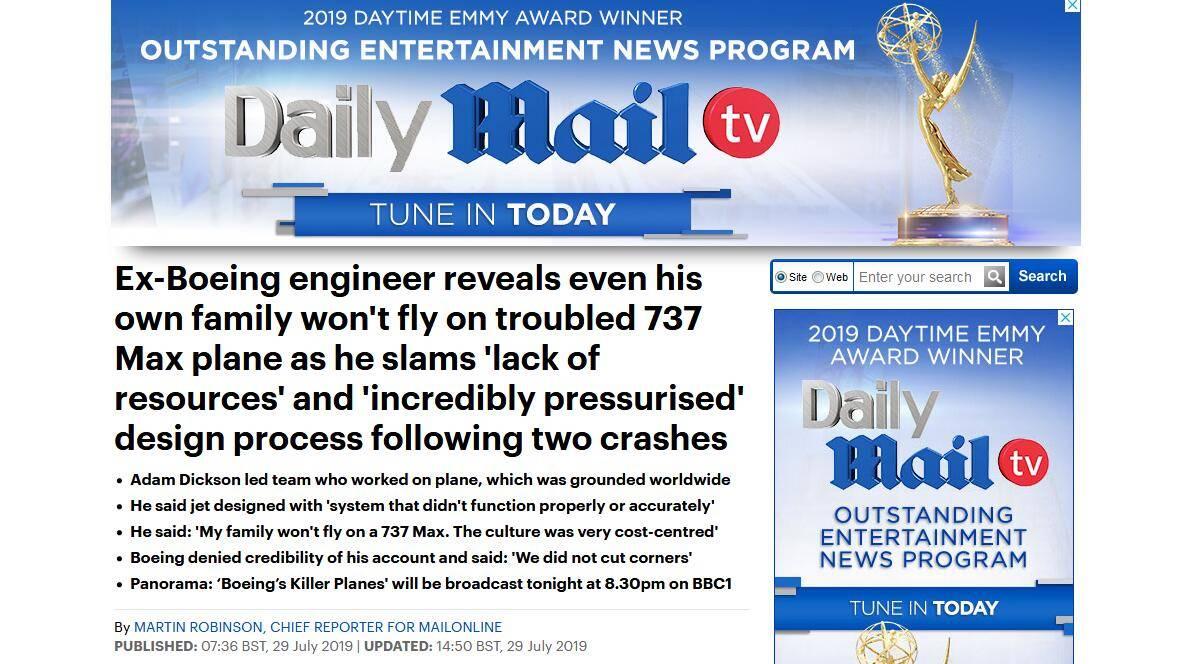 波音前工程师谈737 MAX机型缺陷:我家人不会乘坐
