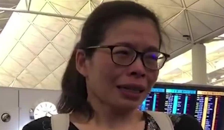 乱港集会瘫痪机场 被困女乘客当场痛哭:不知道该怎么办