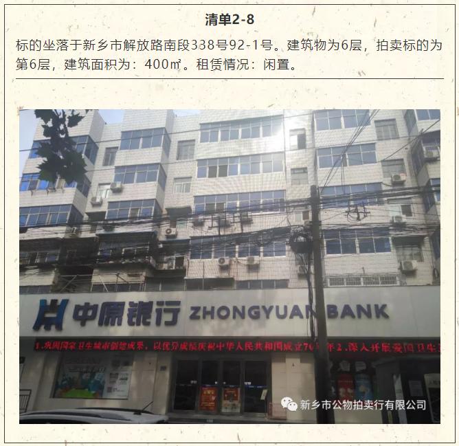 中原银行集中拍卖超过3万平米房产 基本是原
