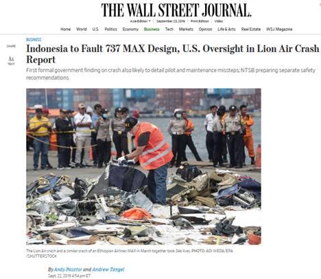 狮航空难调查报告草案曝光:机型缺陷和监管失误是关键原因