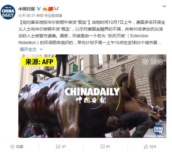 """纽约地标华尔街铜牛被泼""""假血"""" 以示对金融界不满"""