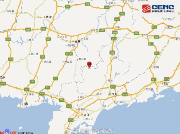 玉林5.2级地震具体情况 玉林北流市地理位置介绍