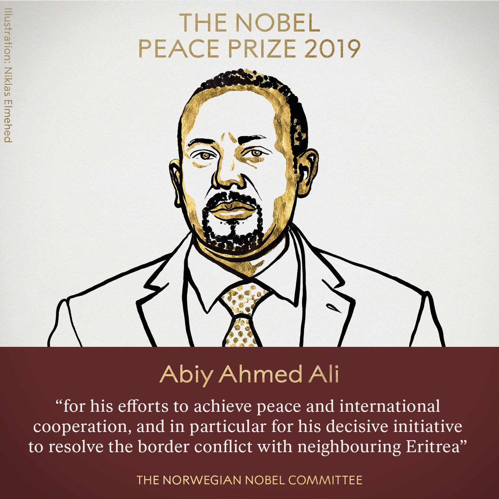 据诺贝尔奖官方网站最新消息,北京时间10月11日17时许,挪威诺贝尔委员会宣布,将2019年诺贝尔和平奖授予埃塞俄比亚总理阿比•艾哈迈德•阿里,以表彰他为和平和国际合作所做的努力,尤其是他为解决与邻国厄立特里亚的边界冲突所采取的果断行动。
