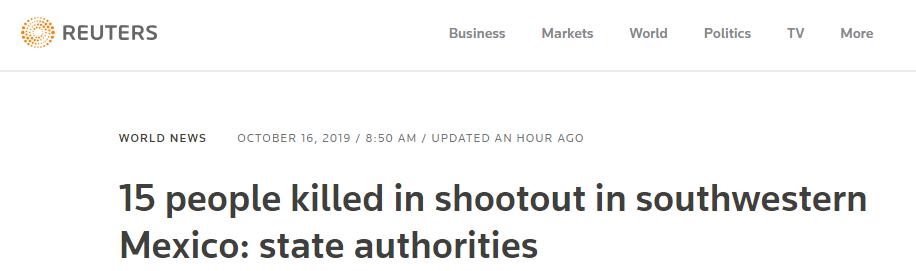 墨西哥再度爆发枪战 15人死亡