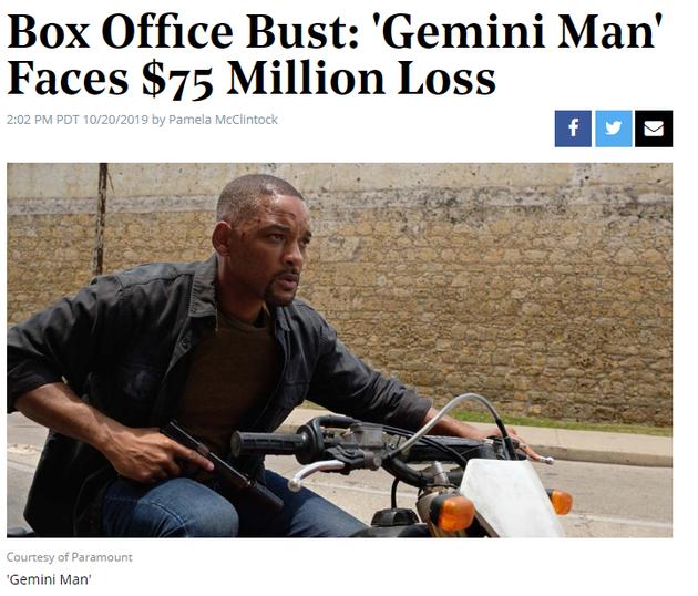 李安新作《双子杀手》全球票房遇冷 可能会面临7500万美元的亏损