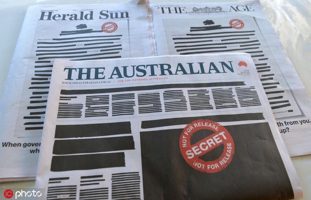 抗議政府限制新聞自由,澳媒集體涂黑頭版(圖)