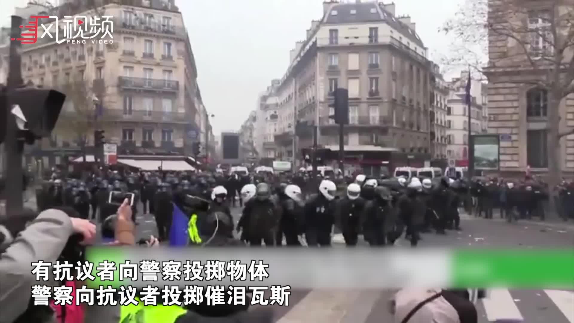 法国无限期全国大罢工 防暴警察与示威者持续冲突
