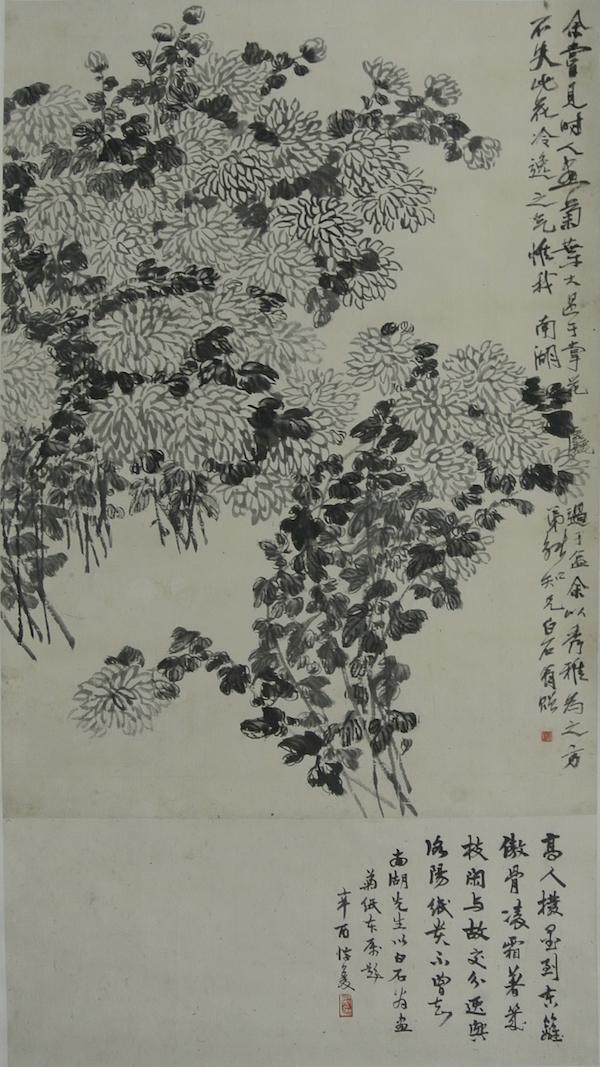 (图十四齐白石,《墨笔菊花图》,纸本,1920年,天津博物馆藏)