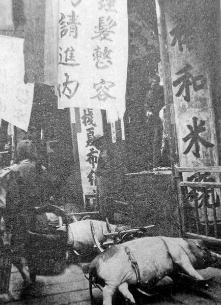清末民初的西牌楼,街头有贩猪的推车。
