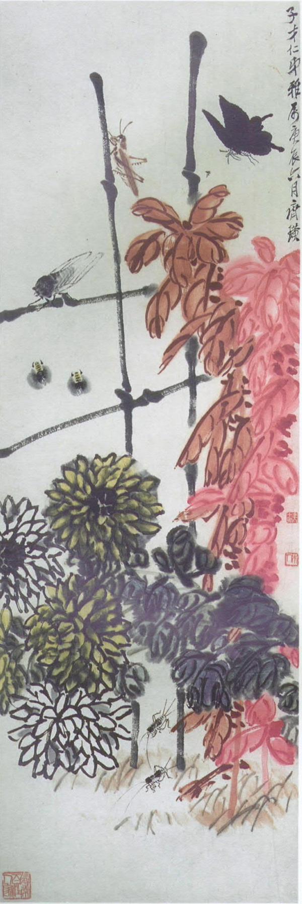 (图二十齐白石,《秋声图》,纸本设色,1940年,首都博物馆藏)