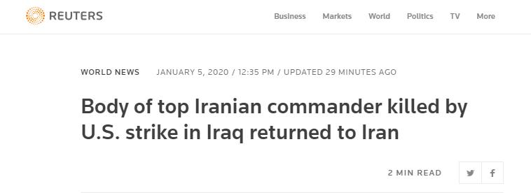 蘇萊曼尼遺體運回伊朗,成千上萬伊朗人穿黑衣上街