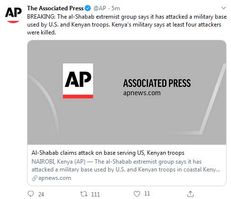 美國軍方確認:美軍在肯尼亞基地受到恐怖襲擊