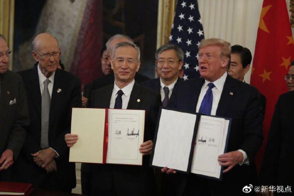 中美簽署經貿協議現場視頻!特朗普笑得很燦爛 基辛格到場