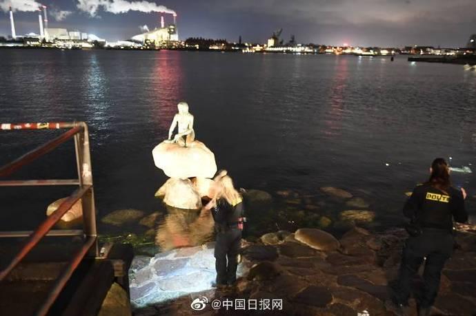 """丹麥標志性景點""""小美人魚""""遭涂鴉 驚現""""港獨""""口號"""