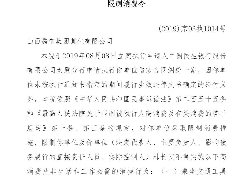 """山西潞宝集团实控人被""""限制消费"""" 担保惹的祸?"""