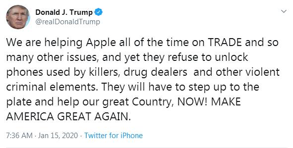 特朗普炮轰苹果:  一直帮你,你却连个杀人犯的手机都不愿解锁