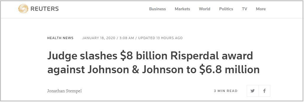 强生产品致男性胸部增大:80亿美元赔偿砍到680万