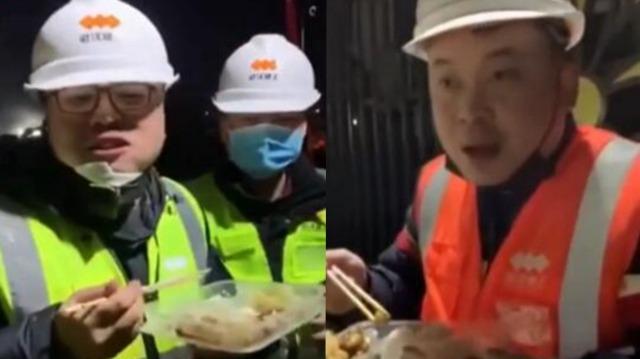 武汉火神山医院施工昼夜不停 吃盒饭的工人许下新年愿望