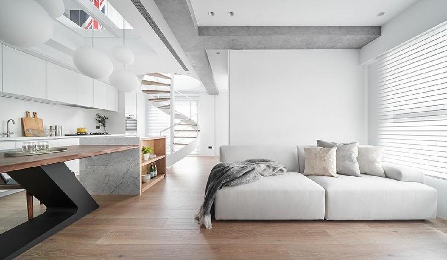 Loft双层公寓的清暖设计