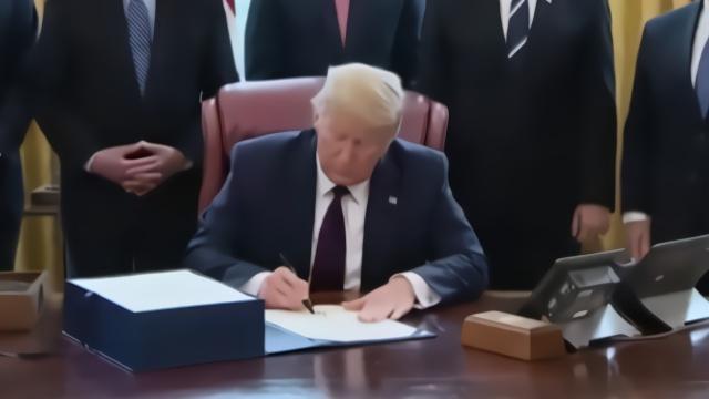 两万亿美元刺激法案签署现场 特朗普犯了大错误