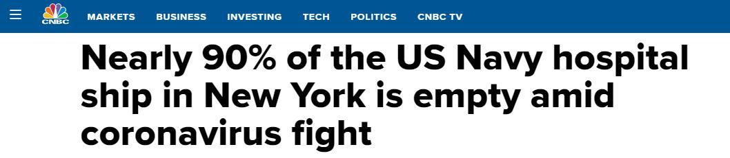 """真是""""安慰""""号!纽约500床位医院船收71个病人"""
