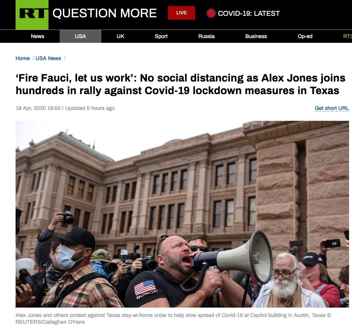 """美国得克萨斯州上演抗议活动:""""炒掉福奇""""、""""让我们去工作"""""""